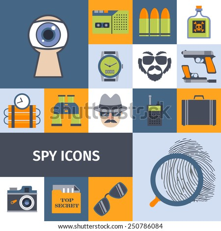 Spy secret intelligence agency service flat icons composition poster with recording camera lens abstract isolated vector illustration - stock vector