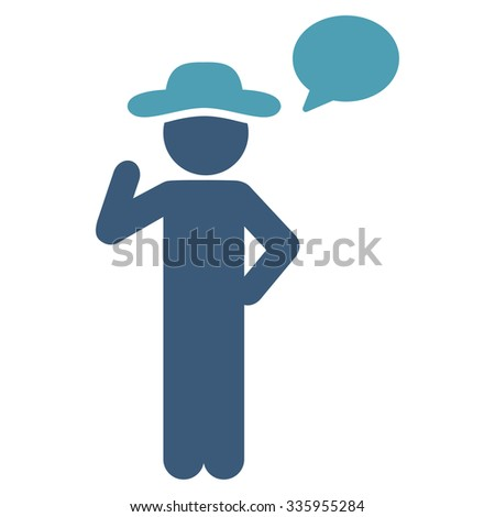 Spy Speech vector icon. Style is bicolor flat symbol, cyan and blue colors, rounded angles, white background. - stock vector