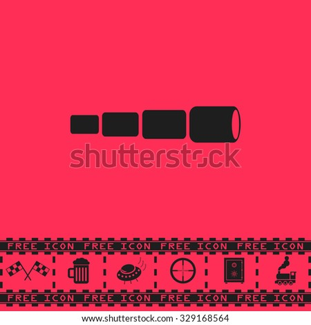 Spyglass. Black flat vector icon and bonus symbol - Racing flag, Beer mug, Ufo fly, Sniper sight, Safe, Train on pink background - stock vector