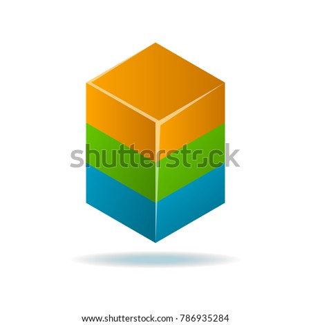 Square abstract isolated element for logo design. Data visualization, corporate identity symbols, option information, diagram vector illustration
