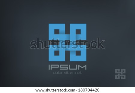 Square Abstract Rebus vector logo design template. Infinity looped shape. Puzzle loop fashion concept icon - stock vector