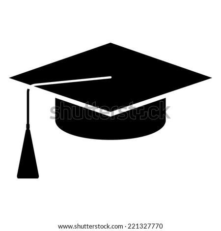 Square academic cap. Black vector icon. - stock vector