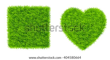 square and heart of grass - stock vector