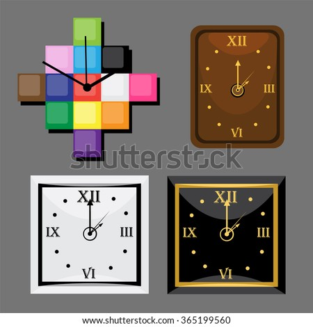 Square and rectangular watch in the interior. Vector. - stock vector