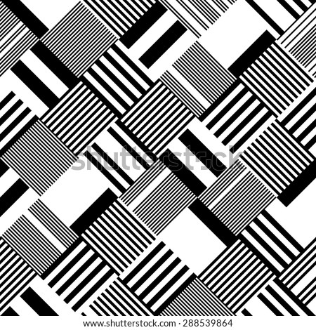 Square and Stripe Pattern. Abstract Monochrome Background. Vector Regular Texture - stock vector