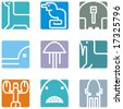 Square animal icon series - seaworld. - stock vector