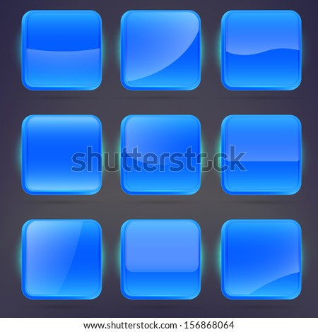 Square application blue buttons or app banners with rounded corners and different gloss reflection effect over, eps10 vector - stock vector