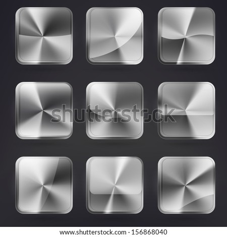 Square application brushed metal buttons or app banners with rounded corners and different gloss reflection effect over, eps10 vector - stock vector