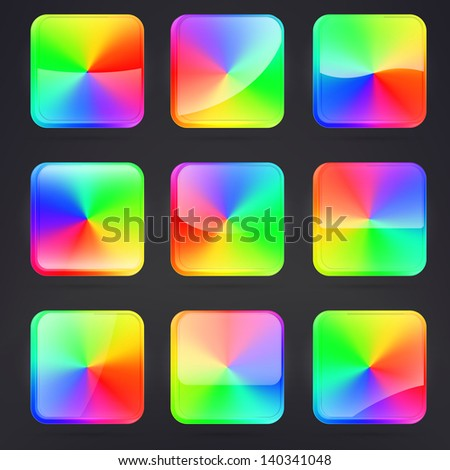 Square application buttons or colorful app banners, rainbow colored with rounded corners and different gloss reflection effect over, eps10 vector - stock vector