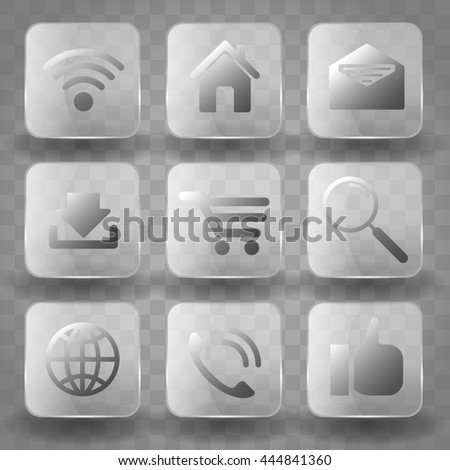 Square application transparent glass buttons or app banners with gloss reflection effect. Icons for Business, SEO and Social media marketing. - stock vector