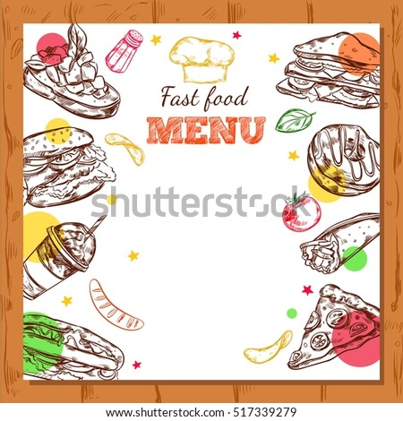 Square Background Fast Food Restaurant Menu Stock Vector 517339279 ...
