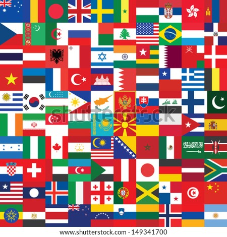 square background made of flag icons - stock vector