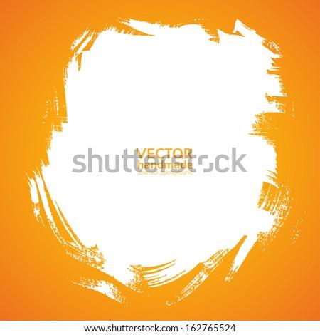 Square background smear paint bristle brush on orange - stock vector