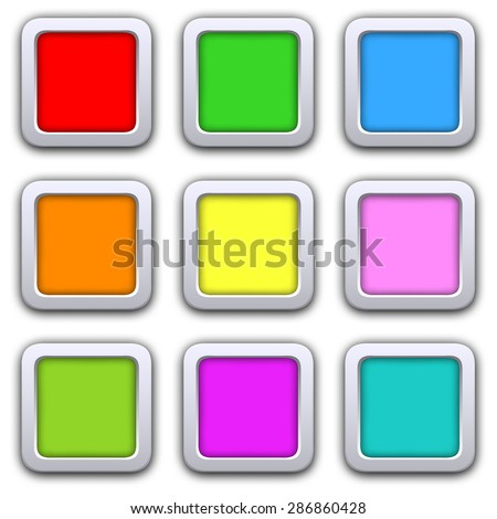 Square blank icons in flat style with shadows. Vector illustration 3D buttons  web design elements.