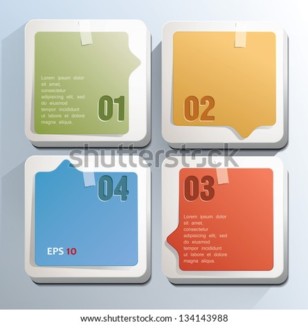 Square blocks with numbers. Can be used for infographics