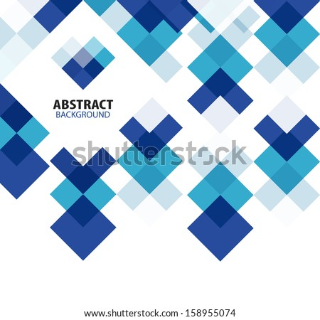 Square blue geometrical abstract background - stock vector