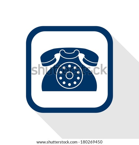 square blue icon contact with long shadow - stock vector