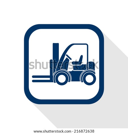 square blue icon forklift truck with long shadow - symbol of logistic, building, safety and transport of goods - stock vector