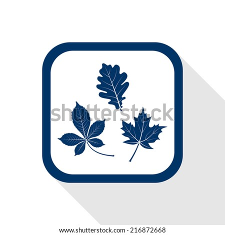 square blue icon with long shadow - autumn set of leaves - oak, maple, horse chestnut - stock vector