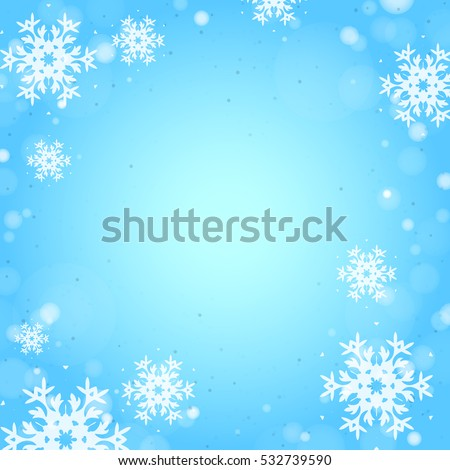 Square Blue Winter Background with Snowflakes