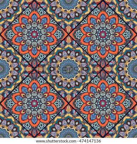 Square Boho Flower Tile Pattern Mandala Patchwork Floral Elements Oriental Hippie Design