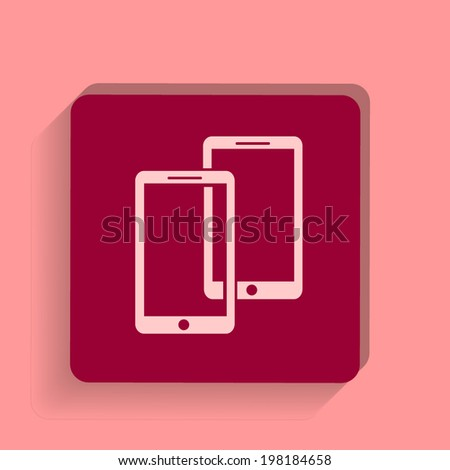 square button on a pink background. Vector illustration  Mobile phone icon. - stock vector