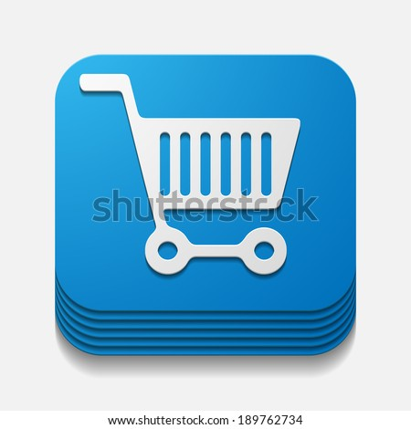 square button: trolley - stock vector