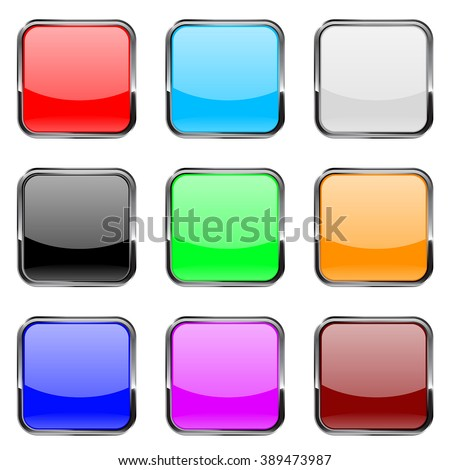 Square buttons. Shiny colored buttons with metal chrome frame. Vector illustration isolated on white background.