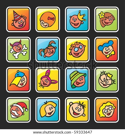 square buttons with faces of children