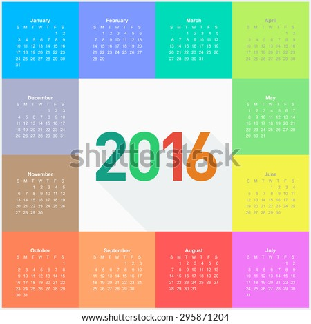 Square calendar for 2016 year. Colorful vector  - stock vector