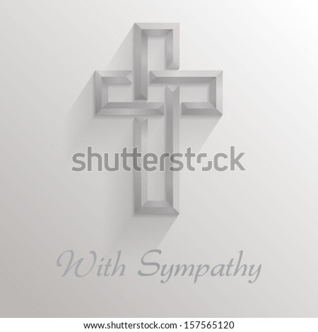Square card with a 3d shadowed cross and text reading With Sympathy��. Please note: this file is EPS10 and uses transparencies.