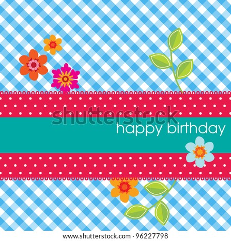 Square card with happy birthday on a polka dot ribbon and a vichy background with flowers