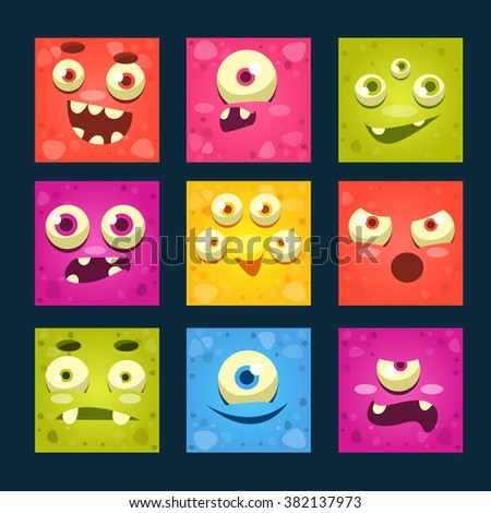 Square Cartoon Monster Faces Vector Illustration Set.