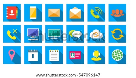 Square communications Icons set