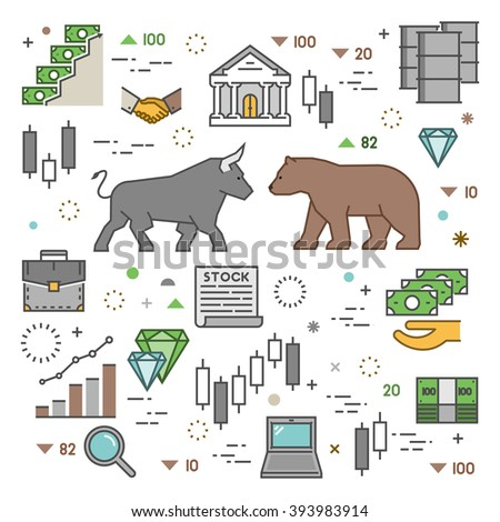 Square concept of stock market. Vector symbol commodity exchange. - stock vector