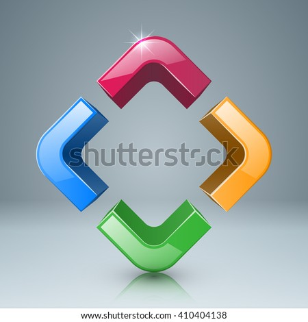 Square consisting of four arrows icon. - stock vector