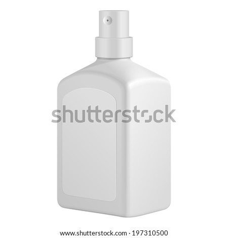 Square Cosmetic Or Hygiene Spray Dispenser Pump Plastic Bottle With Label Of Gel, Liquid Soap, Lotion, Cream, Shampoo. Ready For Your Design. Illustration Isolated On White Background. Vector EPS10 - stock vector