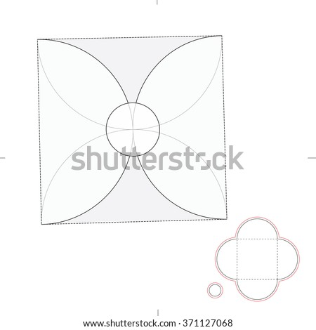 Square Custom Envelope with Die Cut Template - stock vector