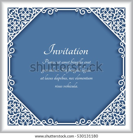Square cutout paper frame with lace corner ornament, greeting card or wedding invitation template, eps10 vector illustration