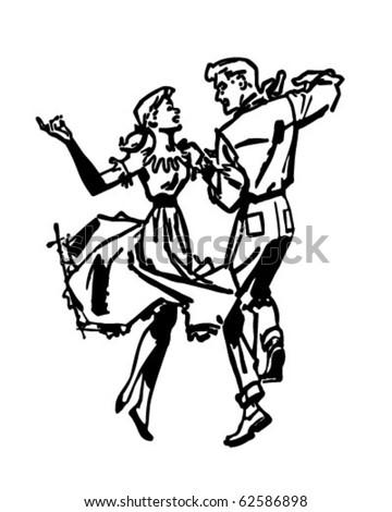 Square Dancers - Retro Clipart Illustration - stock vector