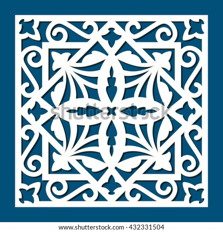 Square die cut ornamental panel. May be user for laser cutting. Laser cut card. Silhouette pattern. Cutout paperwork. Cabinet fretwork panel. Filigree decorative pattern. Wood carving. - stock vector