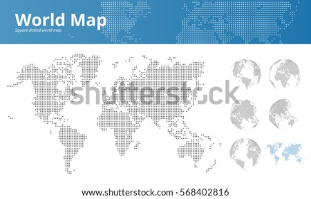 Square dotted world map earth globes stock vector 568402816 square dotted world map and earth globes showing all continents vector illustration template for web gumiabroncs Image collections