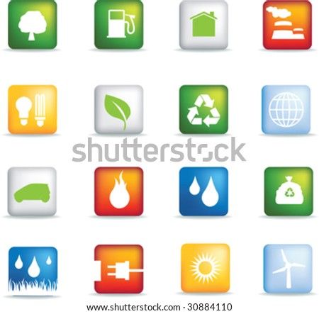 Square eco web buttons - stock vector