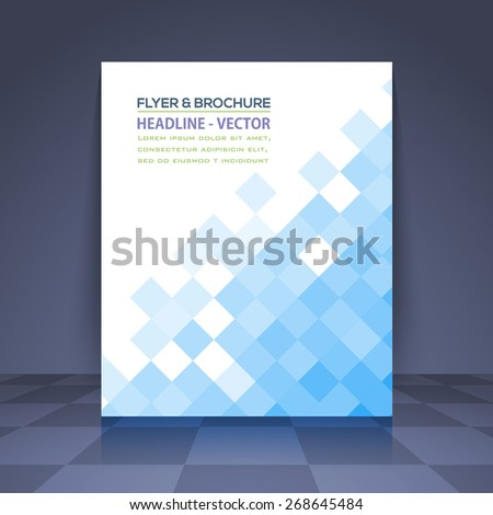 Square Elements Business Concept Minimalist Plygonal Flyer, Brochure Design. Corporate Leaflet, Blue Cover Template - stock vector