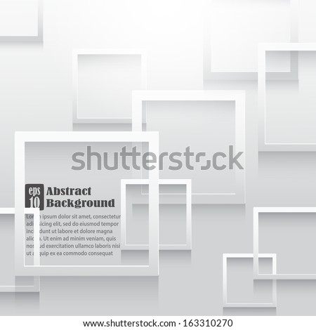 Square elements on white paper with shadow.Vector illustration