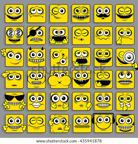 Square Emoticons Collection. Face Smiley Sign Icon. Vector Illustration. Flat Design Style. Cartoon Characters Vector Icon Set - stock vector