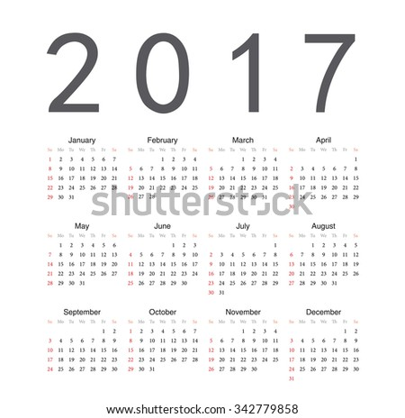 Square English 2017 year vector calendar. Week starts from Sunday.