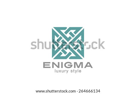 Square Enigma Rebus Maze Logo infinity loop design vector template. Infinite Labyrinth Logotype luxury concept. Jewelry Looped icon. - stock vector