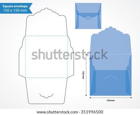 Square envelope layout template with original flap. - stock vector