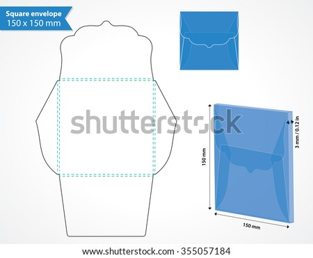 Square envelope template with die cut swirly flap. Wedding invitation box envelope. - stock vector
